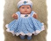 Crochet Pattern for 8 inch Berenguer Blue Blossom Dress Set