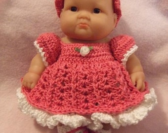 Crochet Pattern for 8 Inch Berenguer Baby Layered Dress