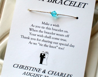 Classic Bride and Groom - A Wedding Wish - Wish Bracelet Wedding Favor Custom Made for You