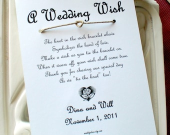Heart Shape Love Knot - A Wedding Wish - Wish Bracelet Wedding Favor Custom Made for You