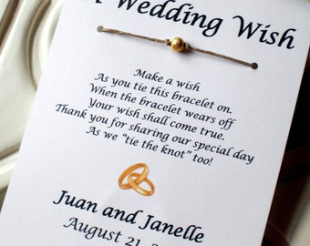 Gold Rings - A Wedding Wish - Wish Bracelet Wedding Favor Custom Made for You