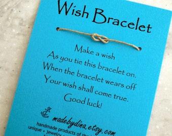 Sailor Knot WISH BRACELET - Shades of Blue - Wedding Favor Party Favor on Blue Cardstock