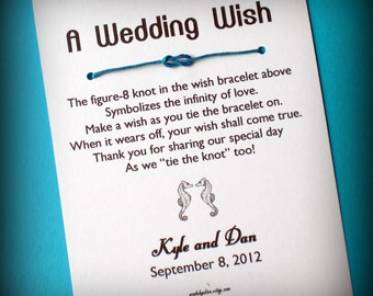 Beach Wedding - A Wedding Wish with Seahorses - Wish Bracelet Wedding Favor Custom Made for You