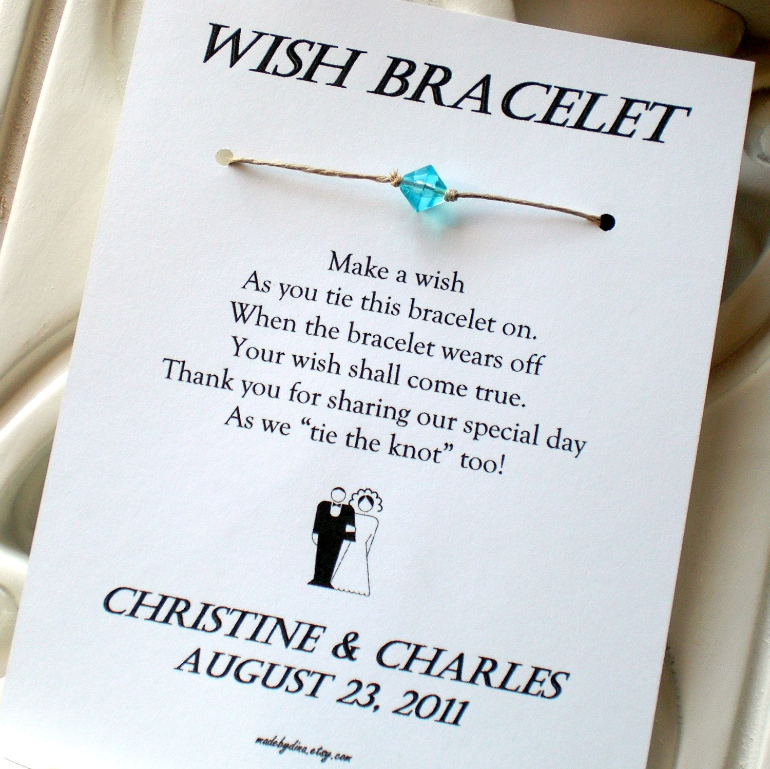 Traditional Wedding Gift Message : Classic Bride and Groom A Wedding Wish Wish Bracelet