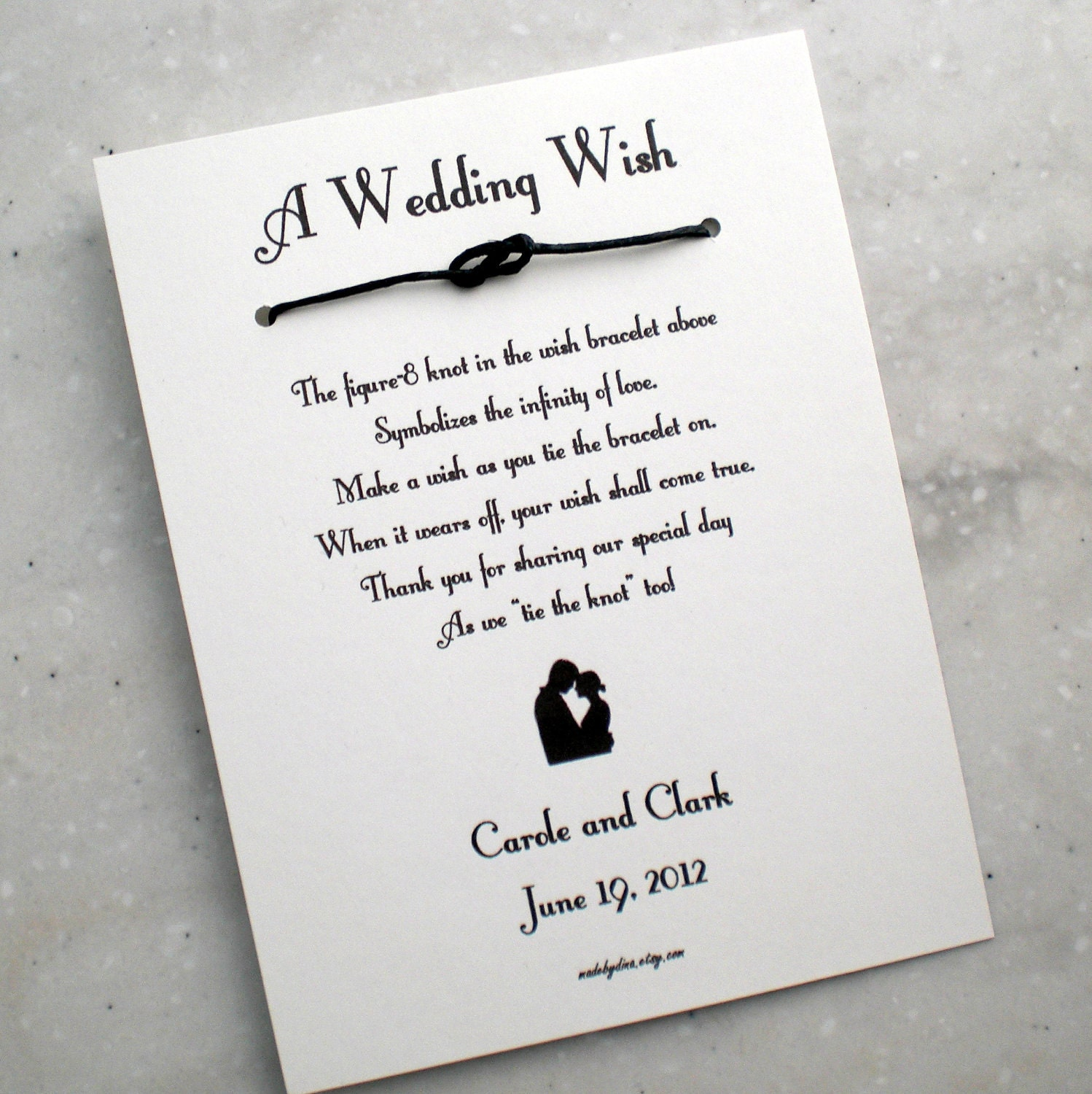 Old Hollywood A Wedding Wish Infinity Love Knot Wish