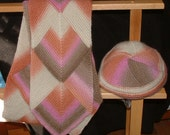 Sherbet Colors Wool Scarf and Hat Set