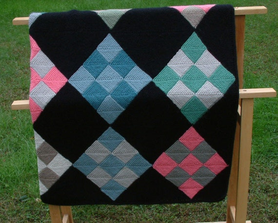 Black and Bright Country Quilt Afghan