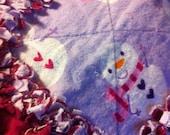 Winter Snowman Rag Quilt /Travel Baby Blanket