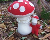 Amanita Muscaria and Amanita Baby made from Recycled Wool