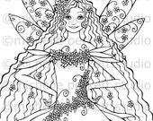 digital stamp image fairy flowers wings hair curls daisies posies stamping scrapbooking cardmaking