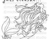 Digital Stamp Images Mermaid Just Breathe Beautiful Pretty Girly Scrapbooking Cardmaking Stamps