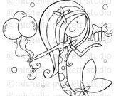 Digital stamp Image Birthday Mermaid ocean present Balloons bubbles Baby Girl Cute Dress stamping scrapbooking cardmaking