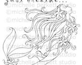 Digital Stamp Image Mermaid Ocean Flowers Tail Fins Pretty Girly Cardmaking Scrapbooking