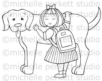 Digital stamp image Dog Back to School Girl Puppies Backpack stamping scrapbooking cardmaking