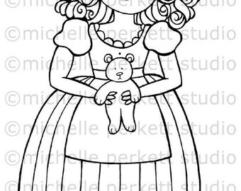Digital stamp Image Goldilocks Bear Fairy Tales Girl Cute Dress stamping scrapbooking cardmaking