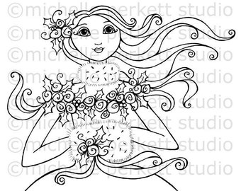 Digital Stamp Image Goddess Winter Fur Muff Roses Snow