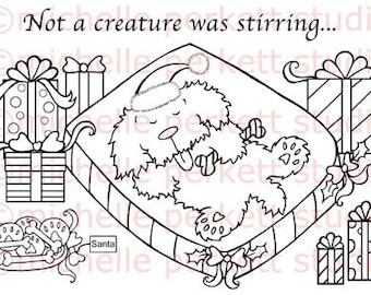 Digital stamp Image Dog Puppy Christmas presents stamping scrapbooking cardmaking