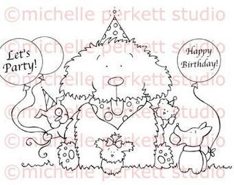 Digital Stamp Cardmaking Scrapbooking Birthday Dogs Puppies Woofie's First Birthday