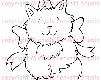Digital Stamp Kitten Cardmaking Scrapbooking Birthday
