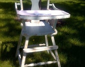 Vintage Primitive Antique Child's High Chair, removable enameled, metal tray