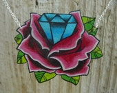 vintage tattoo inspired rose and diamond necklace