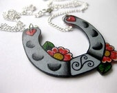Sweet lucky tattoo inspired horseshoe necklace with cherry blossom flowers southwest southwestern
