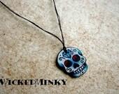Petite wish string sugar skull necklace Small Dia De los Muertos Day of the Dead Calavera Calaca friendship jewelry