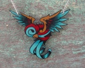 new school blue and red tattoo swallow necklace
