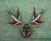 red black and white vintage tattoo swallows holding lock necklace