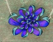 japanese purple and blue spider mum flower necklace