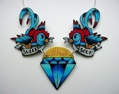 new school sweet and sour swallows holding a diamond BIG chest piece tattoo necklace