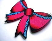 super cute bright hot pink and blue retro bow necklace with silver plated chain