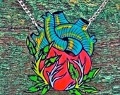 anatomical tattoo heart with leaves organic nature necklace and silver plated chain