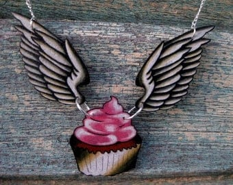 heavenly cupcake... tattoo style necklace