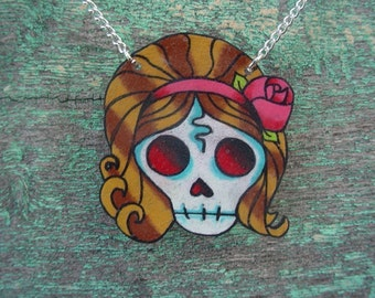 Retro zombie skull pinup girl necklace with silver plated chain