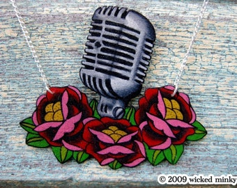 hand painted vintage mic and flowers necklace