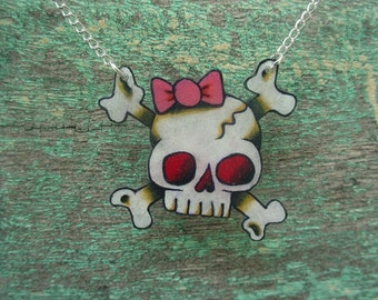 cute girly skull with pink bow necklace with silver plated chain