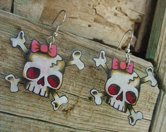 Cute girly skulls with pink and red bows large dangle earrings earrings old school tattoo style