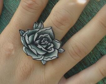 big vintage black and white surreal tattoo rose ring