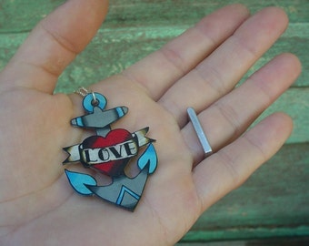 vintage tattoo anchor necklace with heart and custom banner