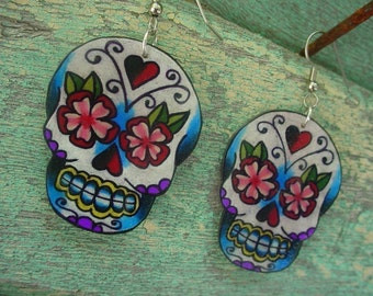 sugar skull with vintage flower and heart earrings (dia de los muertos calavera) day of the dead