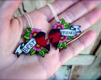 best friends tattoo style necklace