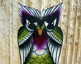 traditional tattoo style fall color lucky owl necklace