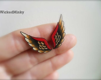NEW tattoo style unique wing stud earrings in cream black and red ear climber crawler ear cuff