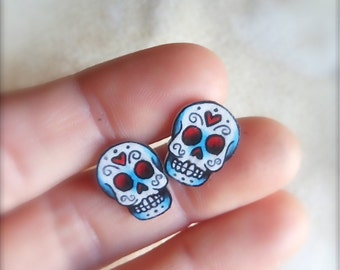 tattoo style day of the dead mini sugar skull post earrings (studs) dia de los muertos calavera calaca by WickedMinky Wicked Minky