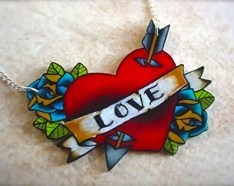 Customizable cupids lover tattoo blood red heart with bright blue roses necklace