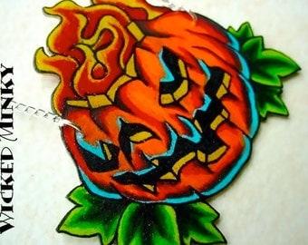halloween new skool tattoo style jackolantern pumpkin necklace