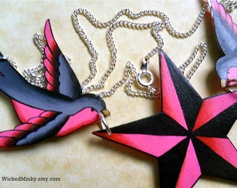Sparrow star nautical necklace tattoo inspired hot bright pink and grey sparrows holding nautical star necklace