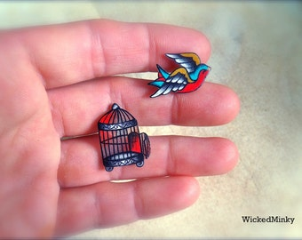 Vintage Americana Tattoo Style Birdcage With Separate Flying Sparrow Post Earrings Studs Big Fun Free Spirit