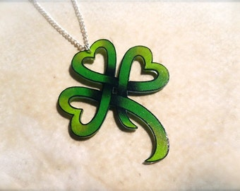 heart shaped lucky clover shamrock necklace new school tattoo style